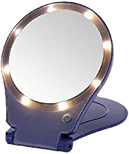 (5X, Purple) - Floxite 5x Magnifying 360 Degree Lighted Home & Travel Mirror - Purple