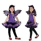 YWLINK Disfraz De Bruja Infantil Disfraz De ala De Murciélago para Niños Vestido Vestido Mágico Disfraz De Vampiro para Niña Vestido De Vampiro para Niña Mascarada Carnaval Halloween Cosplay
