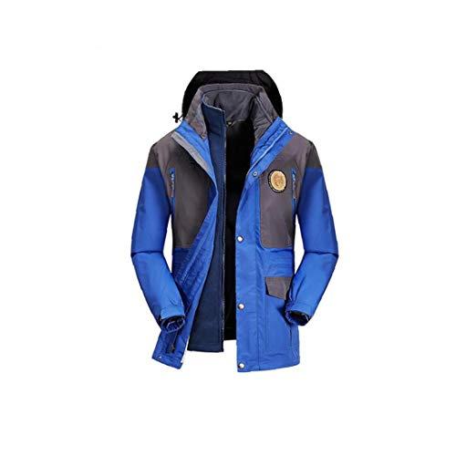 Unisex Abnehmbare Outdoorjacke Wasserdicht Mit Kapuze Starke Warme Jacke Windundurchlässiges Skibergsteigen Anzug Regen Blau L