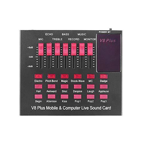 BYTGK oplaadbare mobiele en computer live geluidskaart USB-audiointerface met meerdere geluidseffecten BT aansluiting voor zingen Live S0325