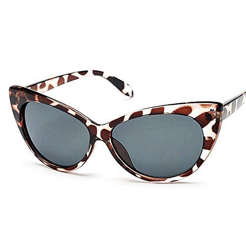 Lovelegis Gafas de sol - mujer - gato - ojo de gato - montura de leopardo - lente negra - idea de regalo de cumpleaños