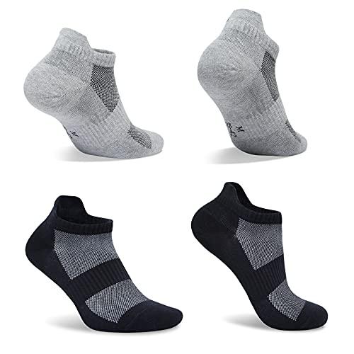 FARCHAT Calcetines Cortos Hombre 43-46 Tobilleros Deporte Calcetines Mujer Negro Gris Algodon Unisexo Calcetín 10 Pares