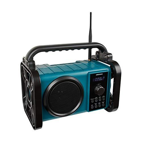 MEDION P66220 Baustellenradio mit Bluetooth 5.0, PLL UKW Radio, Spritzwassergeschützt (IP44), Robustes Gehäuse, LED-Arbeitslicht, integrierter Akku
