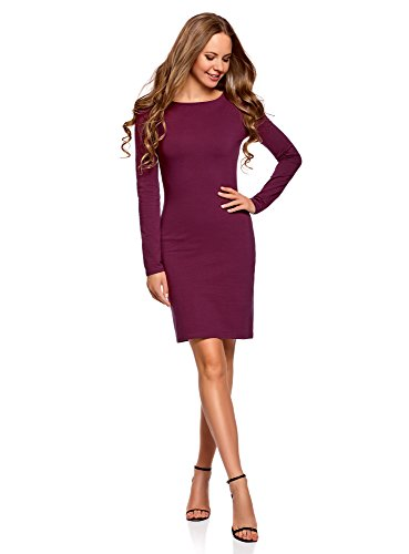 oodji Ultra Damen Enges Kleid Basic, Violett, DE 36 / EU 38 / S