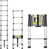 Multibao Telescopic Ladder 2.9M Multi-Purpose Aluminium Telescoping Extendable Portable Loft Ladder Foldable with EN131 and CE Standard (9.5FT/2.9M)