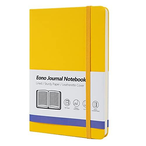 Amazon Brand - Eono Cuaderno A5, Libreta Forrado con Tapa Dura, Perfecto para Oficina, Hogar, Escuela, Blocs de Notas y Escritura - 192 Páginas, Amarillo, Paquete de 1