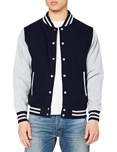 Just Hoods by AWDis Varsity Jacket Blouson, Bleu (Oxford Navy/Heather), Medium Homme