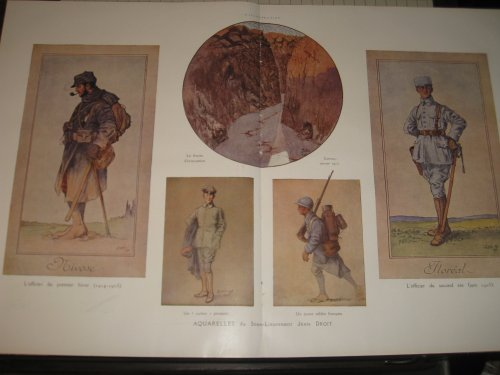 1916 WW1 Print: Aquarelles du Sous-Lieutenant by Jean Droit - French Uniforms WW1