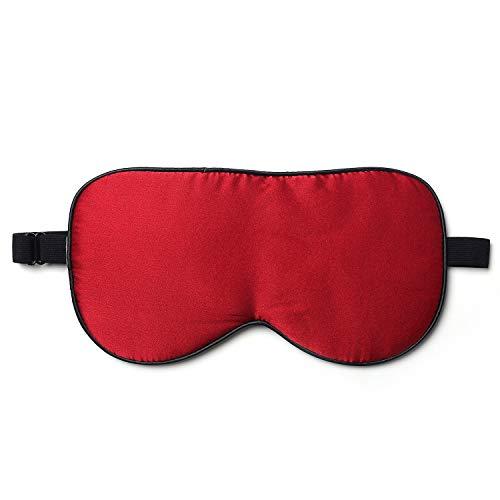 ZIMASILK 100{d0723ef9f00bfbe9eb6b049af516a9b9ef32bc6c5e3cdeb608f70b8f35be0e27} Seide Schlafbrille leicht - verstellbare Augenbinde für Reise und Zuhause Schlafen - Reine Maulbeerseide Atmungsaktiv Augenmaske mit Samtbeutel(Rot)