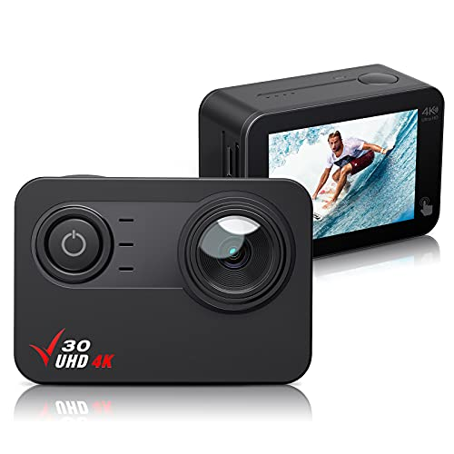 Action Camera 4K 30FPS Ultra HD Waterproof Camera, 170° Wide Angle PC Webcam WiFi Sports Camera EIS Stabilization,100FT Waterproof,2'' Touch Screen, 1350mAh Batteries and Mounting Accessories Kit
