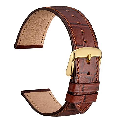 WOCCI 18mm Correa Reloj Piel para Hombre y Mujer, Grano de Cocodrilo en Relieve, Hebilla Dorada (Marrón)