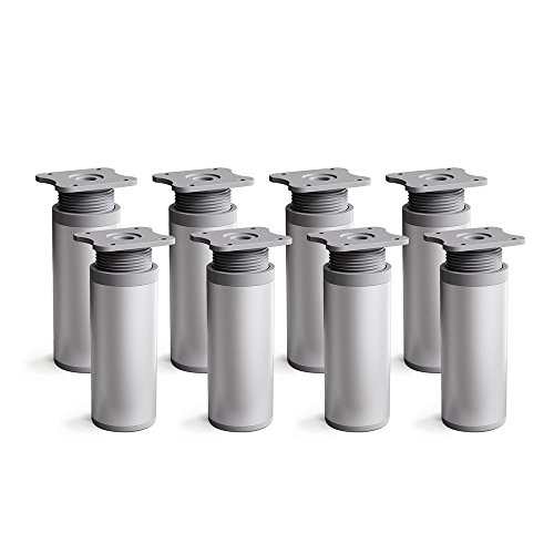sossai® Patas para muebles MFR1   8 piezas   altura regulable   Diseño: Alu   Altura: 100 mm (+20mm)   Perfil redondo: 40 x 40 mm  Tornillos incluidos