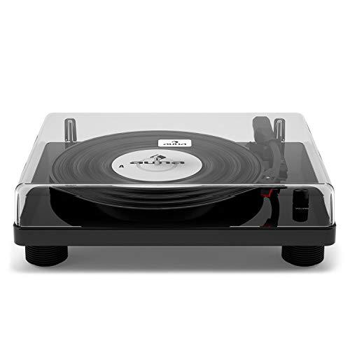 auna TT-Classic - Plattenspieler, Schallplattenspieler, Retro Design, USB, Abspielen und Digitalisieren, 3 Geschwindigkeiten: 33, 45 & 78 U Min, Riemenantrieb, Stereo-Lautsprecher, schwarz