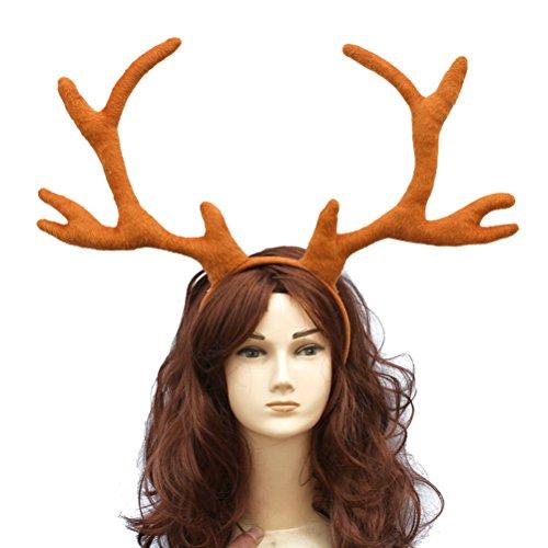 Frcolor Cornamenta grande del pelo de la venda de los alces de los alces para Halloween Cosplay disfraces de la fiesta de navidad Decoración Photo Shoot Prop (marrón)