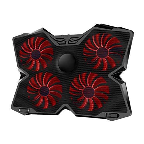 anruo 1 soporte para portátil con cuatro ventiladores y 2 puertos USB, color rojo