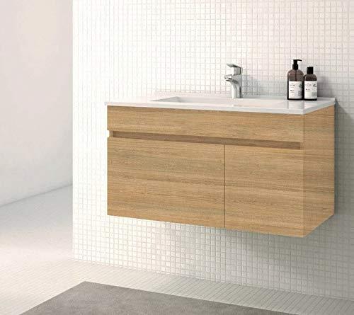 VAROBATH Mueble de baño suspendido de 1 Cajón amortiguado y 1 Puerta con Lavabo de Cerámica, y Espejo Liso - Mueble MONTADO - Modelo SOKI (80 cms, Hera)