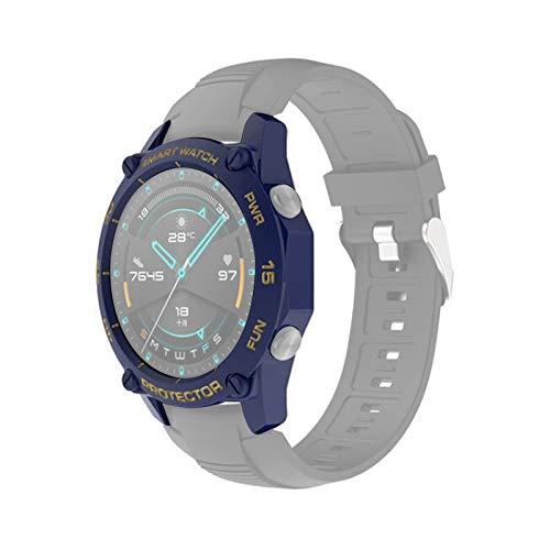 zhangxia Funda de reloj para Huawei Watch GT2 46mm Smart Watch TPU Funda protectora, Color: Azul+Oro Accesorios