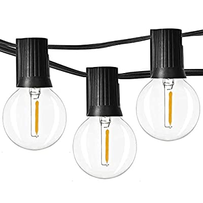 Newpow 48ft LED Globe String Lights Dimmable with 25 G40 Vintage Edison LED Bulbs (2 Extra) 1W 60Lm 2500K Warm Glow for Indoor/Outdoor Decoration and lighting - Black, UL listed