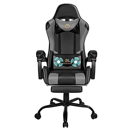 JL Comfurni Gaming Stuhl mit Massage Bürostuhl Ergonomischer Racing Computerstuhl mit Fußstütze PC Stuhl Höhenverstellbarer Schreibtischstuhl Drehsessel Grau