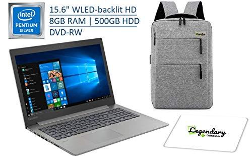 Lenovo 15.6' HD Premium Laptop, Intel Pentium Silver N5000 Quad-Core (Beat Intel i3-7100U), 8GB DDR4, 500GB HDD, DVD-RW, Wireless-AC, Windows 10 W/ Legendary Computer Backpack & Mouse Pad Bundle