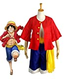 FINDPITAYA Combinaison 3pcs Déguisement One Piece Luffy Halloween Noel Party Adulte...