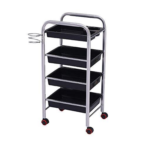 COOLSHOPY Carro for herramientas en las ruedas de 4 niveles del salón de belleza Carro con cajón, sostenedor del metal for el secador de pelo, médico del balanceo de la carretilla con la rueda univers
