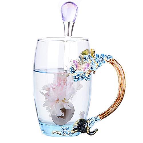 Do4U Frauen einzigartige Neuheit 3D Blume Glas Kaffeetassen Tassen mit Löffel perfekt für Espresso, Wasser, Saft, Tee, heiße Getränke, Latte, Milch, Geschenk kurz (Blaue Pflaumenblüte, hoch)