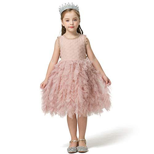NNJXD Little Girl Tutu Dress Tulle Ruffles Flower Girls Wedding Party Dresses Size (100) 3-4 Years Button-Pink