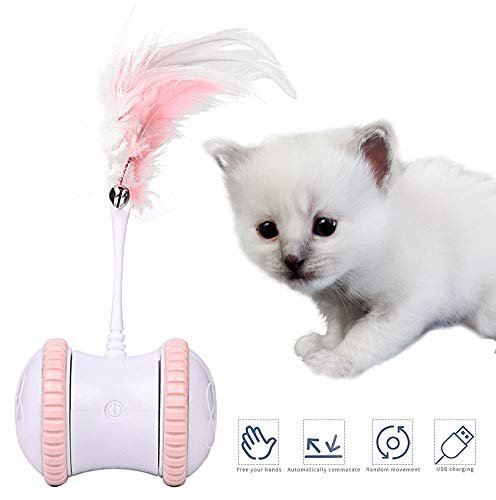 Juguete interactivo para gato, bola de juguete eléctrica con luz LED, temporizador automático y pluma, rotación automática de 360 °, recargable por USB, para mascotas, gato