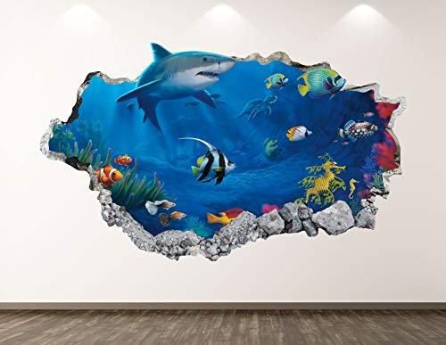 West Mountain Shark Wall Decal Art Decor 3D Smashed Aquarium Sticker Poster Kids Room Mural Custom Gift BL130 (22' W x 14' H)