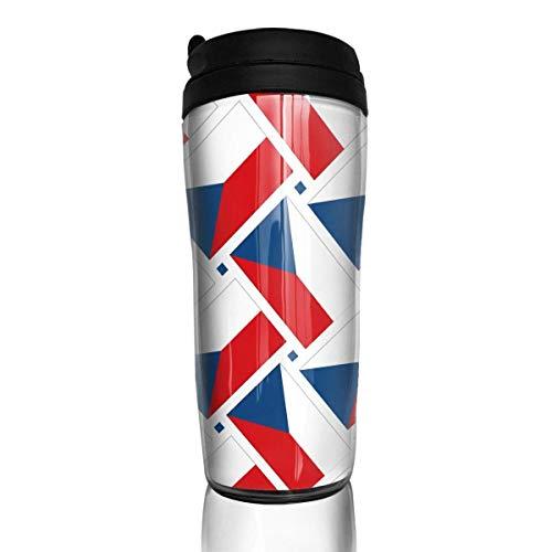 KERYNP Kaffeebecher Thermobecher mit Schraubdeckel,Travel Coffee Mug Czech Republic Flag Weave Stainless Steel Insulated Travel Mug Car Coffee Mug Thermal 12 OZ