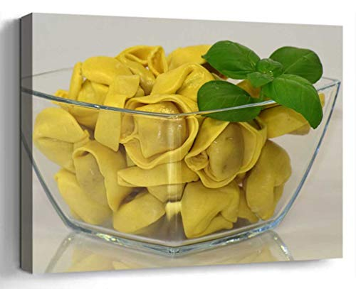 Wall Art Canvas Print Photo Artwork Home Decor (24x16 inches)- Noodles Tortellini Pasta Carbohydrates Lunch