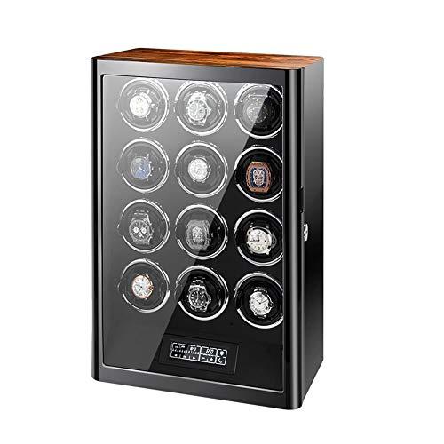 Zyy Cajas Giratorias para Relojes para 12 Relojes Automáticos con Luz De Fondo LED Y Pantalla Táctil LCD, Control Remoto Y Almohada Ajustable