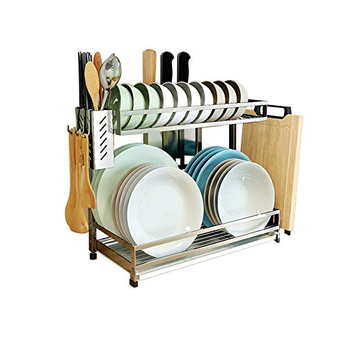 304 Stainless Steel Dish Dryer Rack,Cutting Board Holder and Kitchen Dish Drainer for Kitchen Counter Top, Silver 17.3x7.87x13.5inch