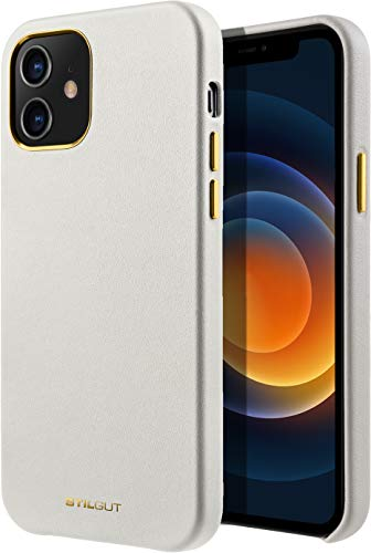 StilGut Cover kompatibel mit iPhone 12 Mini Hülle aus Leder, Lederhülle, Hülle aus Leder, Ledercase - Beige