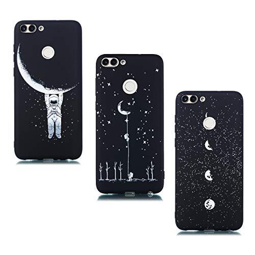 ChoosEU Compatible con 3X Fundas Huawei P Smart 2018 Silicona Negro Dibujos Creativa Carcasas para Chicas Mujer Hombres TPU Case Antigolpes Bumper Cover Caso Protección - Luna,Astronauta