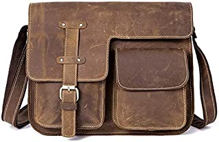 Men's Leather Bag Retro Crazy Horse Leather Cross Section Messenger Bag (Color : Brown)