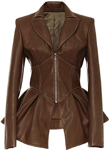 Zoayeps Womens Long Sleeve Crop Peplum Frill Leather Blazer Jacket Coat