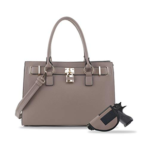 Concealed Carry Purse - Dina Lock Concealed Carry Satchel (Stone)