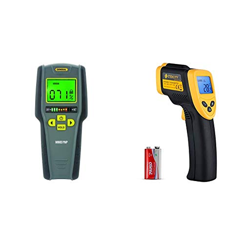 General Tools MMD7NP Digital Moisture Meter & Etekcity Infrared Thermometer 774 (Not for Human) Temperature Gun Non-Contact Digital Laser Thermometer-58℉~ 716℉ (-50℃ ~ 380℃) Black