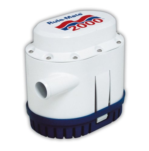 Rule-Mate RM2000A Automated Bilge Pump, No Float Switch Required, 2000 GPH, 12 Volt , White/Blue