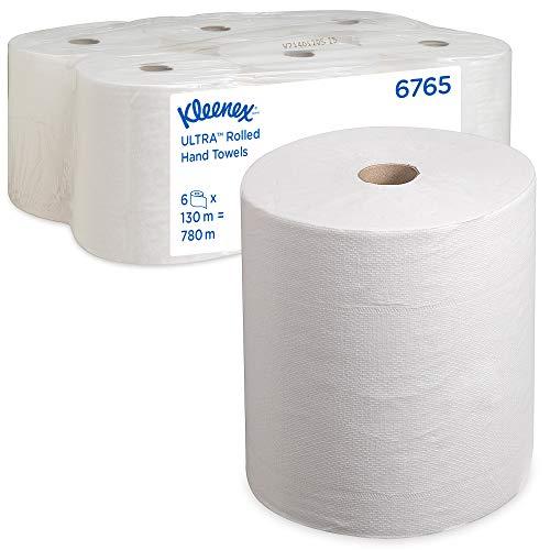 Kleenex Ultra Handtücher, Rollenhandtücher mit Airflex-Absorptionstechnologie, 2-lagig, 6 Rollen x 130 m, Weiß, 6765