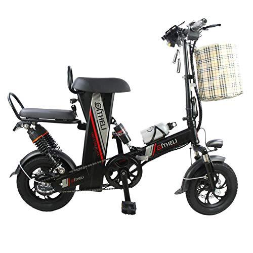 Suyanouz Mini Bici Elettrica da 12 Pollici Potere Pieghevole Scooter Adulto Piccolo Generazione di Motori Bicicletta Elettrica Batteria al Litio Bici Elettrica, Nero 10Ah Batteria, A