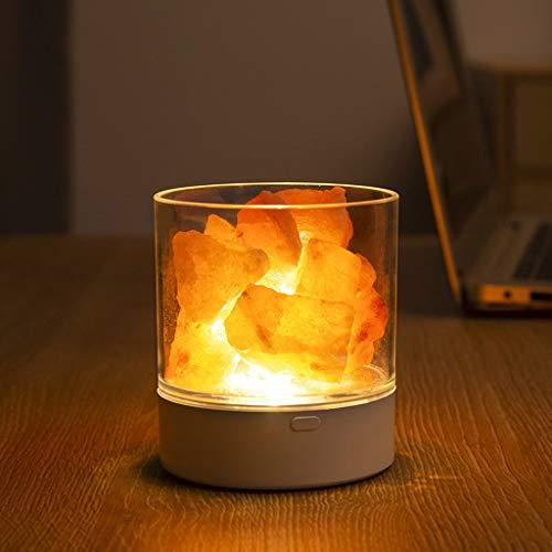 OGGID Lámpara LED de Sal de Cristal Natural Purificador de Aire, Atenuador Luz Nocturna Fácil de Instalar y Usar, Decoración para Hogar Habitacion Mesilla Dormitorio Salon