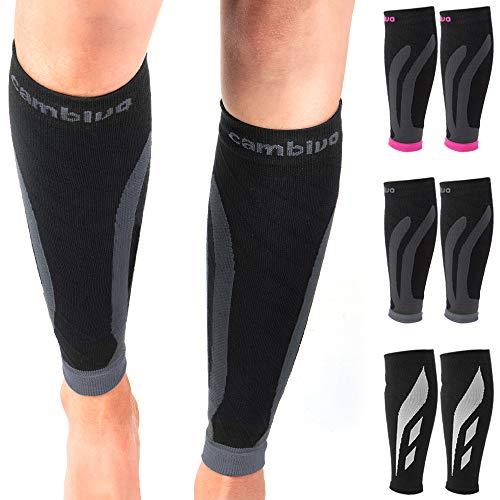 CAMBIVO 2 Paar Waden Kompressionsstrümpfe für Damen und Herren, Waden Bandage, Beinlinge, Kompressionssocken, Laufsocken ohne Fuß für Sport, Flug, Joggen (CS12 Grau, XXL: 43-47)