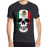 yting Human Skull Flag of Mexico Camiseta de Manga Corta para Hombre Tops de Entrenamiento físico de Secado rápido, Talla L