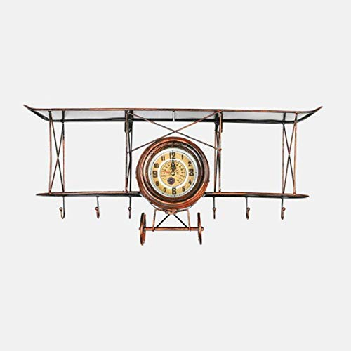 LXYZ Wohnzimmer Wanduhr, Rack Flugzeuguhr Ornamente Lagerregal Kreative Metall Wandbehänge Home Ornamente Display Regal Schmiedeeisen, Rot Bronze Farbe