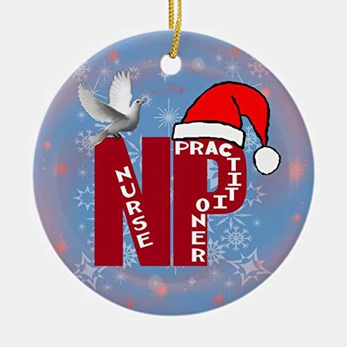 Scott397House Christmas Santa Hat Ornaments, Np Christmas Ornament Santa Hat Nurse Practioner Hanging Ornament Xmas Tree Decor Gifts 3''