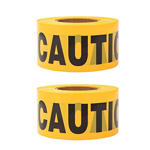 Yellow Caution Tape • 2 mil x 3 inch x 1000 feet • Caution Tape For Halloween,Safety Tape,Quarantine tape,Quarantine sign,Construction Party Supplies(2 Roll)