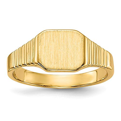 14ct geel goud gravable Signet Ring - maat D